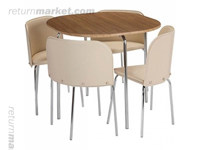 hygena amparo oak effect dining table and 4 cream